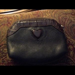 Brighton coin purse black leather with brown